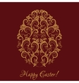 Golden egg with floral ornament on red vector image