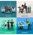 Police People Flat 2x2 Design Concept vector image