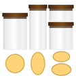Glass jars set and labels isolated on black backgr vector image