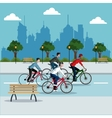 group person young riding bike park city vector image