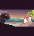 mountain lake in scenery nature with house home on vector image