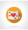 Romantic feelings yellow round flat icon vector image