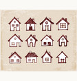 sketch of houses on vintage background vector image