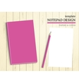 Template of notebook cover and papers vector image