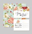 wedding invitation with autumn hortensia flowers vector image