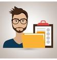 man clipboard folder file vector image