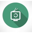 refresh icon on retro television set vector image