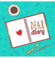 Open blank notepad background view from above vector image