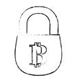 bitcoin icon secure money symbol online vector image