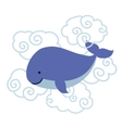 Cute cartoon whale in clouds isolated on white vector image
