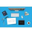 designer workplace desktop with tools vector image