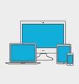 electronic devices in liner style vector image