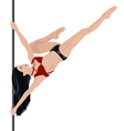 Girl is doing element in pole dance vector image