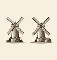old wooden mill windmill logo or label vector image