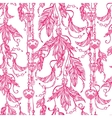 Seamless boho pattern of a feathers and keys vector image