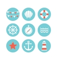 set of 9 flat sea elements vector image