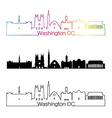 Washington DC V2 skyline linear style with rainbow vector image