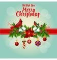 Merry Christmas holly garland and cardinal birds vector image