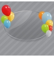 Glass frame with flowers with colored ballons vector image