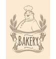 Chef baker label unicolorous vector image