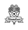 Doll Festival Hinamatsuri greeting emblem vector image