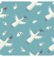 Flying Storks and Children Seamless Pattern vector image