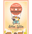 Cute Groom and Bride on Balloon Wedding invitation vector image