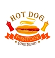 Fast food hot dog sign for food delivery design vector image