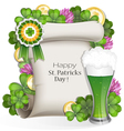Green beer with clover and gold coins vector image