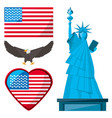 statue of liberty eagle and american flag vector image