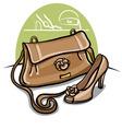 women beige shoe and handbag vector image