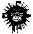 grunge white skull in frame with axe and knifes vector image vector image