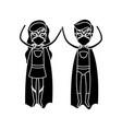 silhouette black front view superhero couple vector image