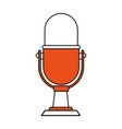 Color silhouette image of desk microphone of fixed vector image