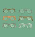 set of hipster glasses flat elements vector image