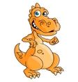 Cute orange cartoon dragon or dinosaur vector image