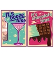 Chocolate and cocktail posters in vintage style vector image