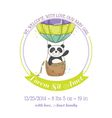 Baby Shower Card - Baby Panda and Air balloon vector image