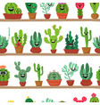 collection of abstract cactuses in flower pot on vector image
