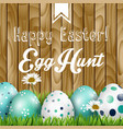 easter greeting flowers and colored eggs vector image