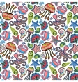 hand drawn seamless pattern with jellyfish vector image