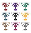 menorah icon in black style isolated on white vector image