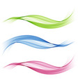 set of abstract colored wavesbluegreen and pink vector image