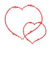 Two Scrawled Hearts vector image