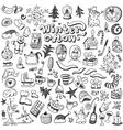 winter Christmas symbols - doodles set vector image
