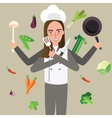 woman cheff holding knife vegetable pan flying vector image