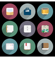 Flat Icons of objects business office items vector image