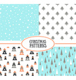 Set of simple retro Christmas patterns backgrounds vector image