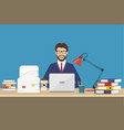 business man with office things vector image