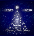 happy new year 2018 greeting card in blue vector image